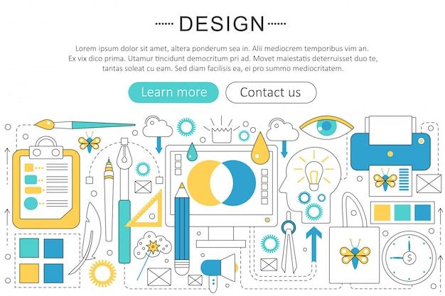 Design und kunst flache linie konzept Premium Vektoren
