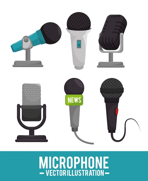 Design von mikrofonservices Premium Vektoren