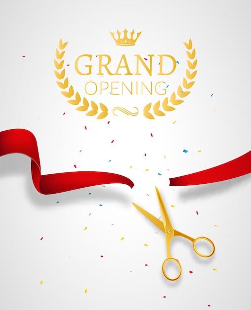 Design-vorlage für die eröffnung mit band und schere. grand open ribbon cut konzept. Premium Vektoren