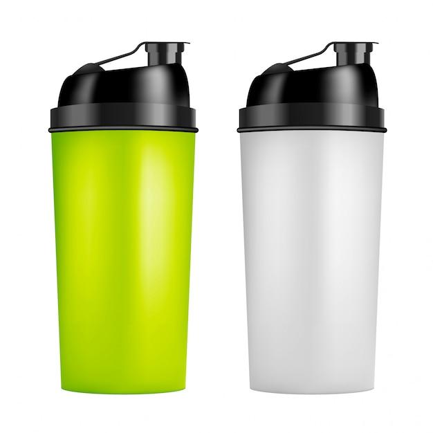 Design-vorlage für protein-shaker. zweifarbige sportflaschen. shaker-flasche für fitness-bodybuilding Premium Vektoren
