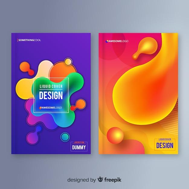 Designbezüge mit farbenfrohem flüssigeffekt Kostenlosen Vektoren