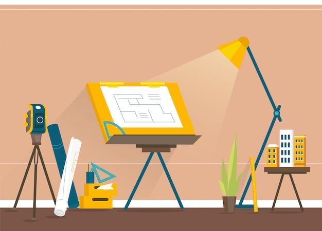 Designer-arbeitsplatz zum erstellen von projekten Premium Vektoren