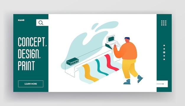 Designer, der die landing page der website für breitbild-offsetdruckmaschinen verwendet. Premium Vektoren
