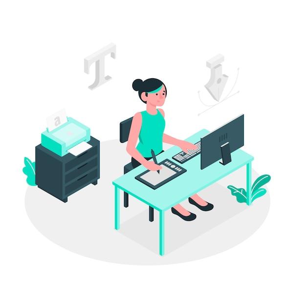 Designer mädchen konzept illustration Kostenlosen Vektoren