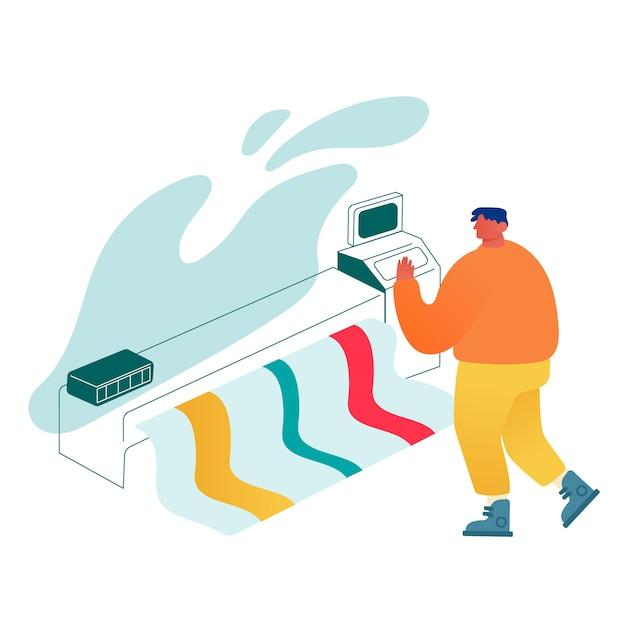 Designer mit breitbild-offsetdruckmaschine, man print banner auf multifunktions-laserdrucker. Premium Vektoren