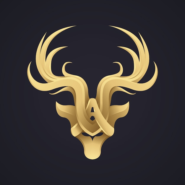 Designfirmenzeichen der eleganten rotwild des gold 3d. premium-luxus-bildmarke-logo. Premium Vektoren