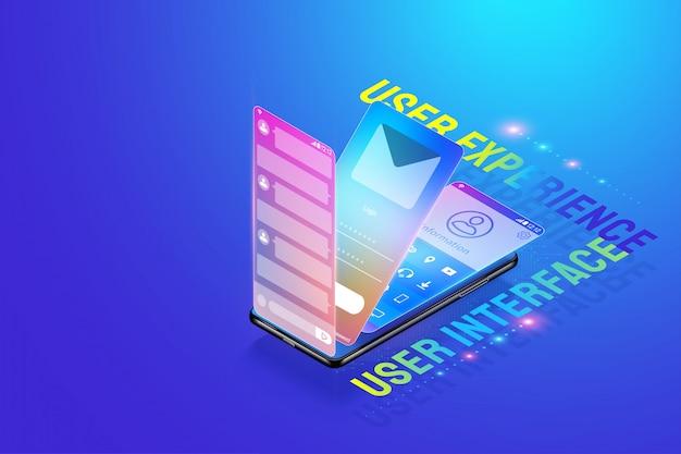 Designillustration 3d isometrische bewegliche app ui ux, benutzerschnittstelle, benutzererfahrung und anwendungsentwicklungs-konzeptvektor herstellend und entwerfen. Premium Vektoren