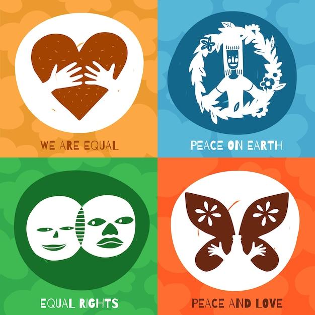 Designkonzept der internationalen freundschaftssymbole mit gleichberechtigung, frieden und liebe auf erden isoliert Kostenlosen Vektoren