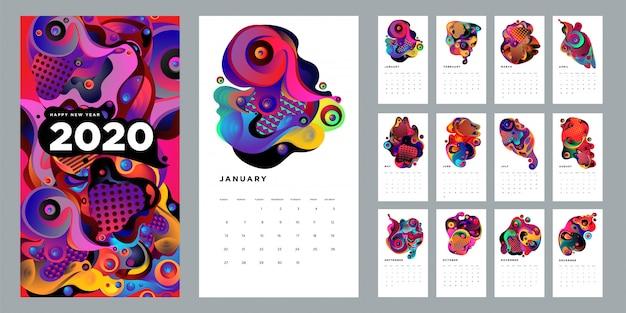 Designschablone mit 2020 kalendern mit bunter abstrakter flüssigkeit und geometrischem hintergrund Premium Vektoren