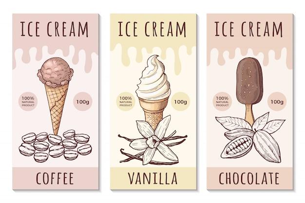 Designschablone von eiscreme-aufklebern mit hand gezeichneten illustrationen Premium Vektoren