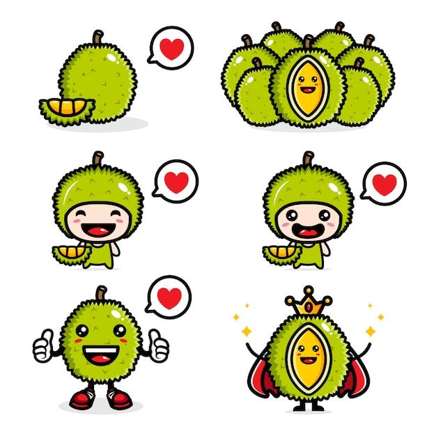 Designset aus frischem durian Premium Vektoren