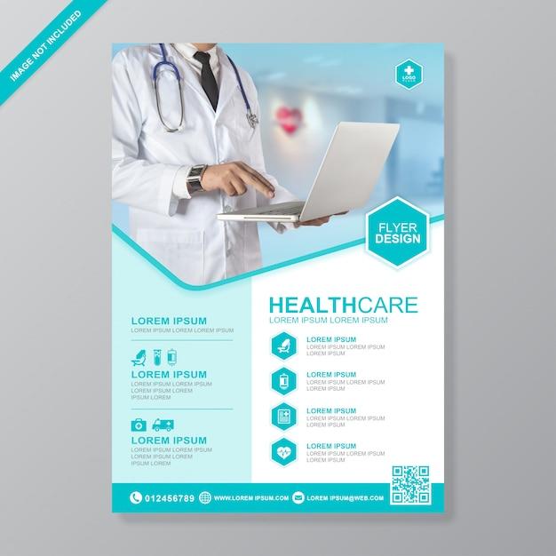 Designvorlage für das gesundheitswesen und medizinische abdeckung a4-flyer Premium Vektoren