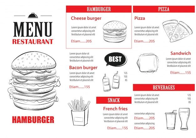 Designvorlage für fast-food-menüs. Premium Vektoren