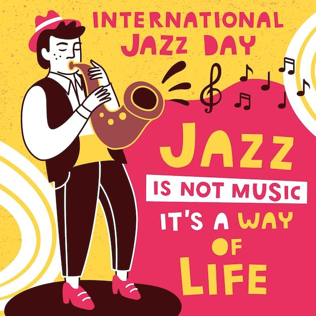 Designvorlage für internationale jazztage. Premium Vektoren