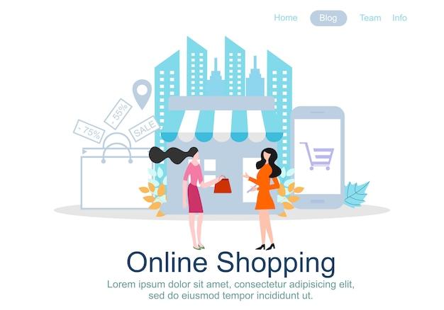 Designvorlagen für webseiten für online-shopping Premium Vektoren