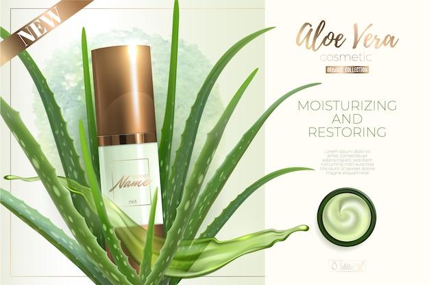 Designwerbung für kosmetikprodukte. feuchtigkeitscreme, gel, körperlotion mit aloe vera extrakt. Premium Vektoren