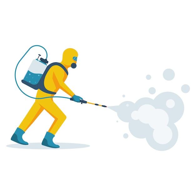 Desinfektionskonzept. mann im gelben schutzanzug. Premium Vektoren