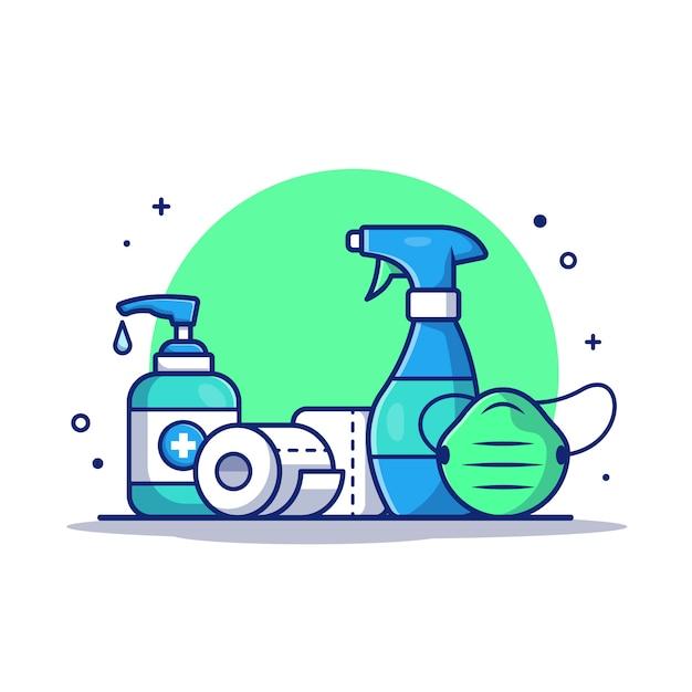 Desinfektionsmittel, toilettenpapierpapierrolle und medizinische maske. symbol illustration. Premium Vektoren