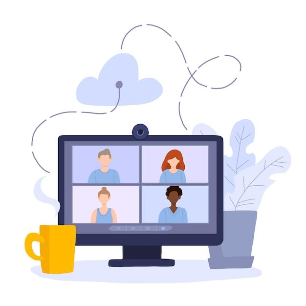 Desktop-computer mit einer gruppe von kollegen, die an einer videokonferenz teilnehmen. Premium Vektoren