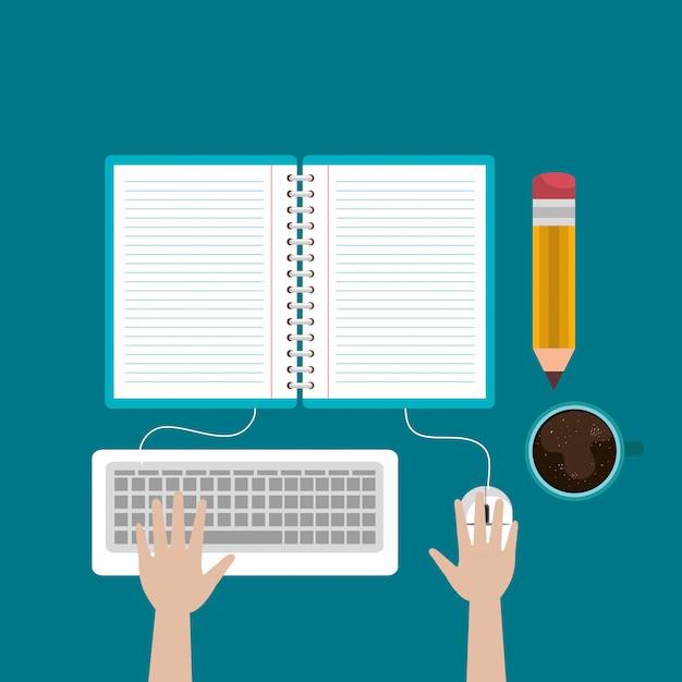 Desktop-computer mit einfachem e-learning Kostenlosen Vektoren