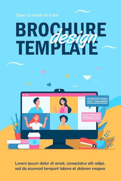 Desktop mit isolierter flyer-vorlage für virtuelle besprechungen oder videokonferenzen Kostenlosen Vektoren