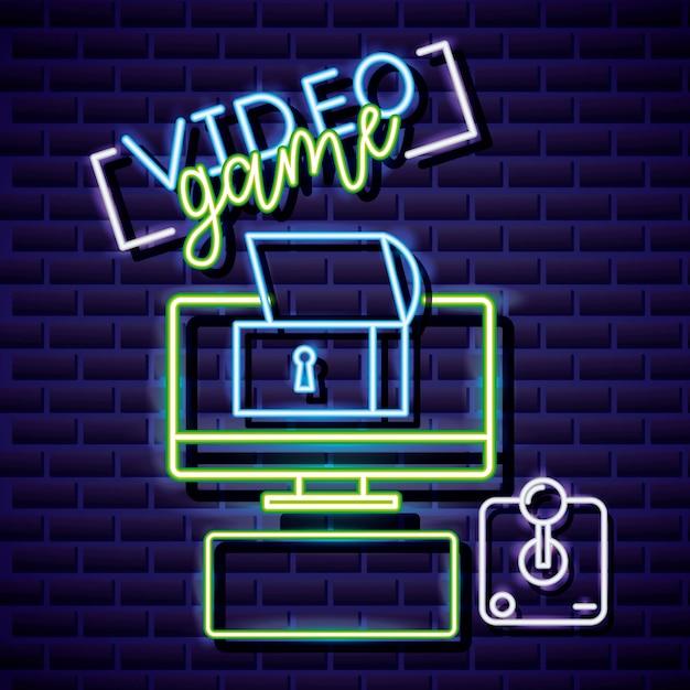 Desktop, tresor und joystick, videospiel im linearen neon-stil Kostenlosen Vektoren