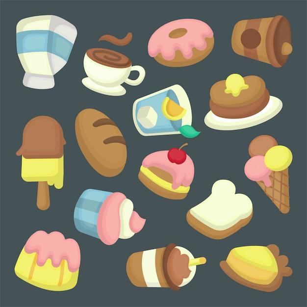 Dessert abbildung sammlung Premium Vektoren