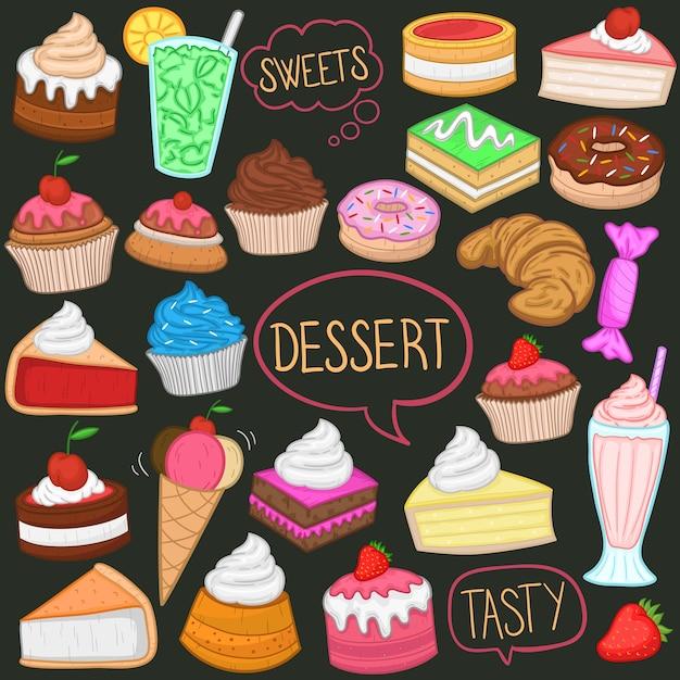 Desserts und süßigkeiten clipart color doodle Premium Vektoren
