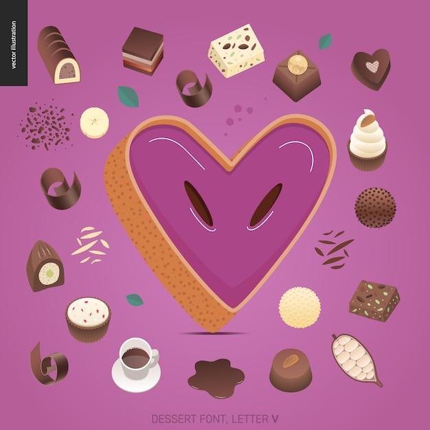 Dessertschriftbuchstabe v Premium Vektoren