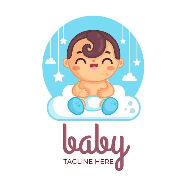 Detaillierte baby-logo-vorlage Premium Vektoren