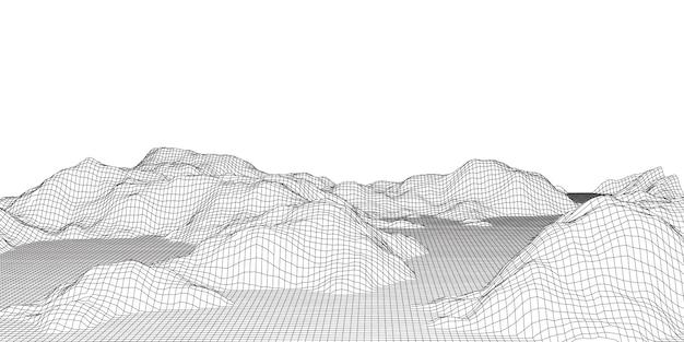 Detaillierte drahtgitter-geländelandschaft in schwarzweiss Kostenlosen Vektoren