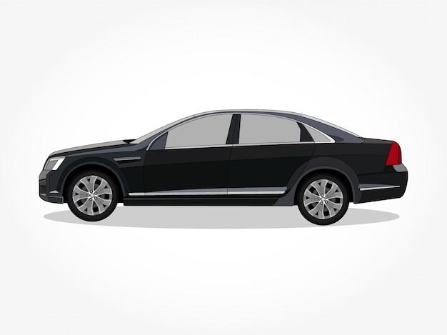 Detaillierte karosserie und felgen einer flachen farbigen auto-cartoon Premium Vektoren