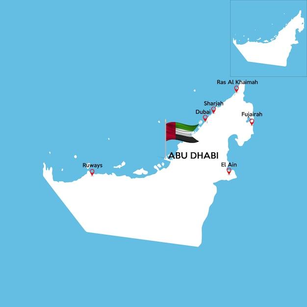 Detaillierte karte der vereinigten arabischen emirate Premium Vektoren