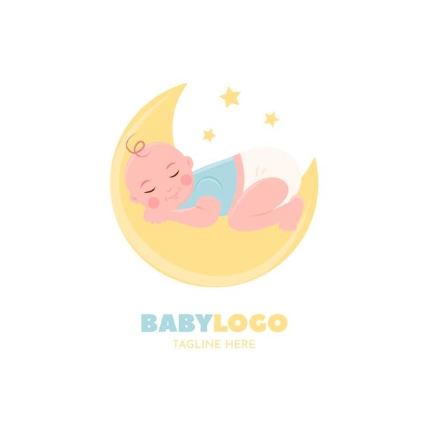 Detaillierte logo-vorlage mit schlafendem baby Premium Vektoren
