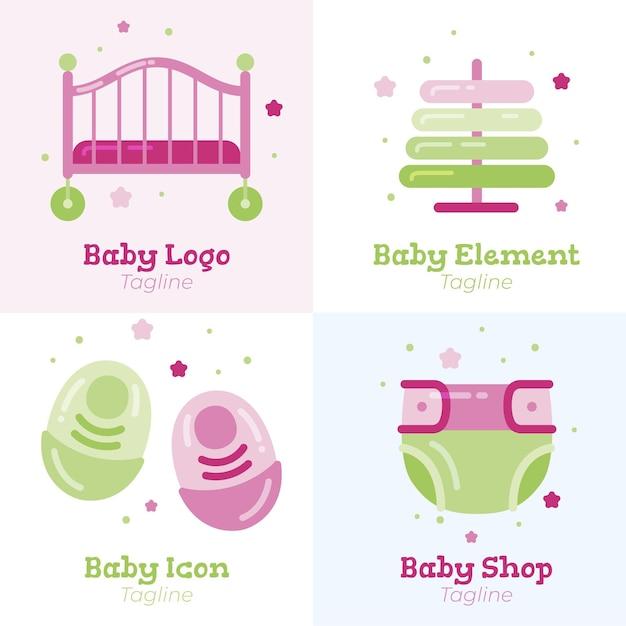 Detaillierte niedliche baby-logo-schablonensammlung Kostenlosen Vektoren