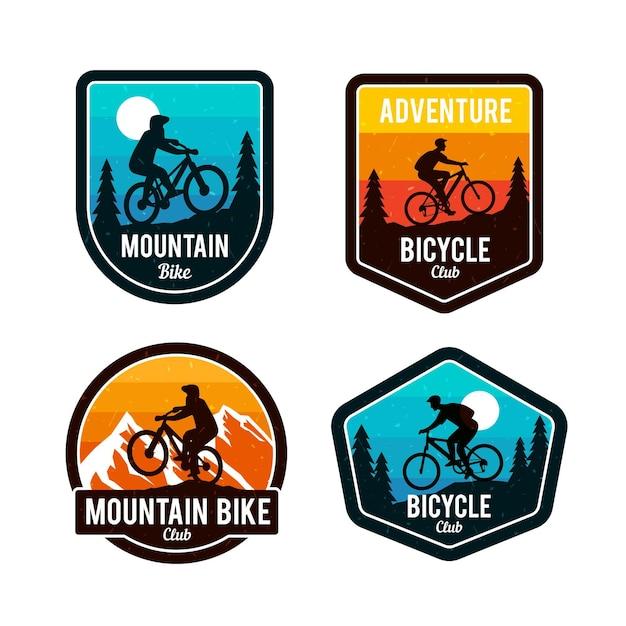 Detaillierte radfahrer fahrrad logo vorlage Kostenlosen Vektoren