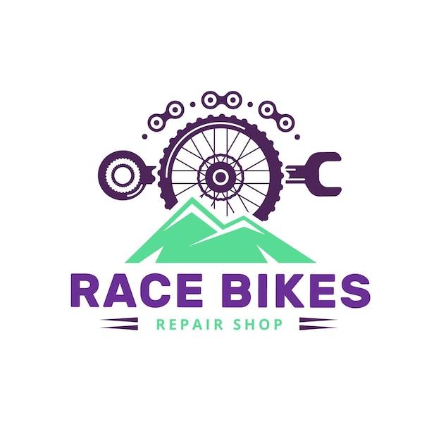 Detaillierter mechanismus für die logo-vorlage für fahrräder Kostenlosen Vektoren