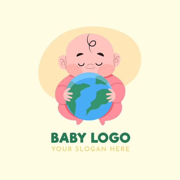 Detailliertes baby-logo mit planet erde Kostenlosen Vektoren
