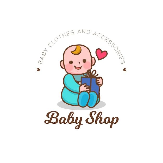 Detailliertes baby shop logo Premium Vektoren