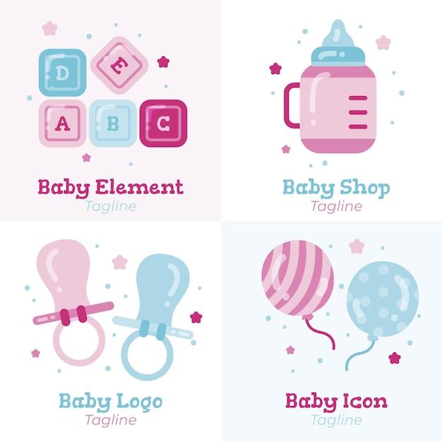 Detailliertes niedliches babylogo-schablonenset Premium Vektoren