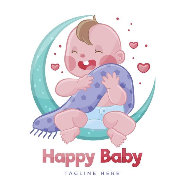 Detailliertes niedliches babylogo Kostenlosen Vektoren