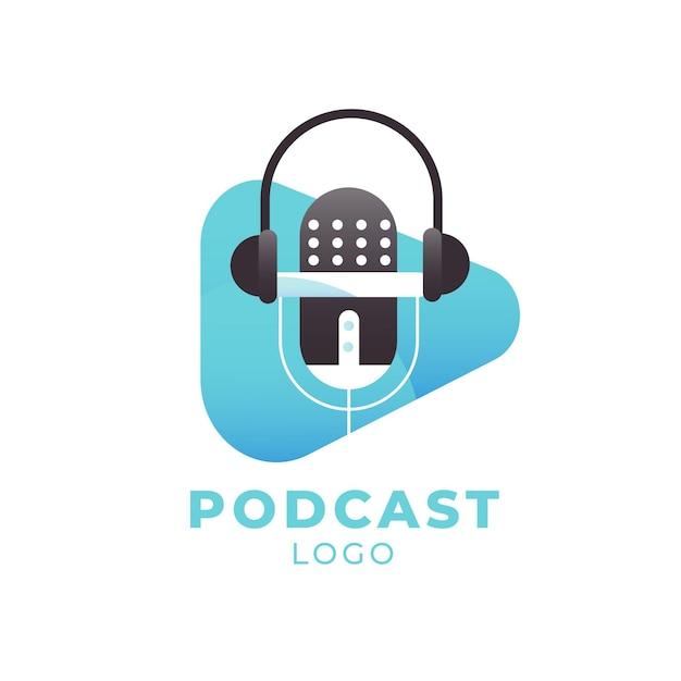 Detailliertes podcast-logo mit kopfhörern Kostenlosen Vektoren