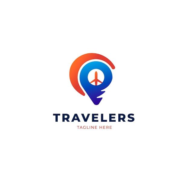 Detailliertes reiselogo-konzept Premium Vektoren