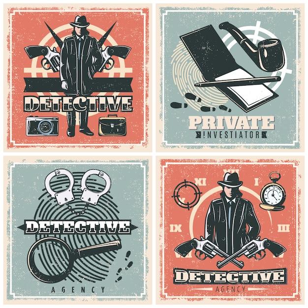 Detective agency poster set Kostenlosen Vektoren