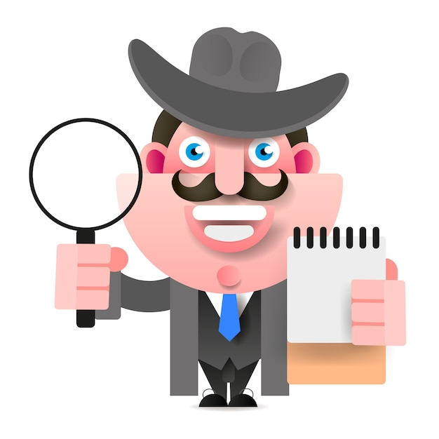 Detektiv, der eine lupe hält. vektor-illustration Premium Vektoren