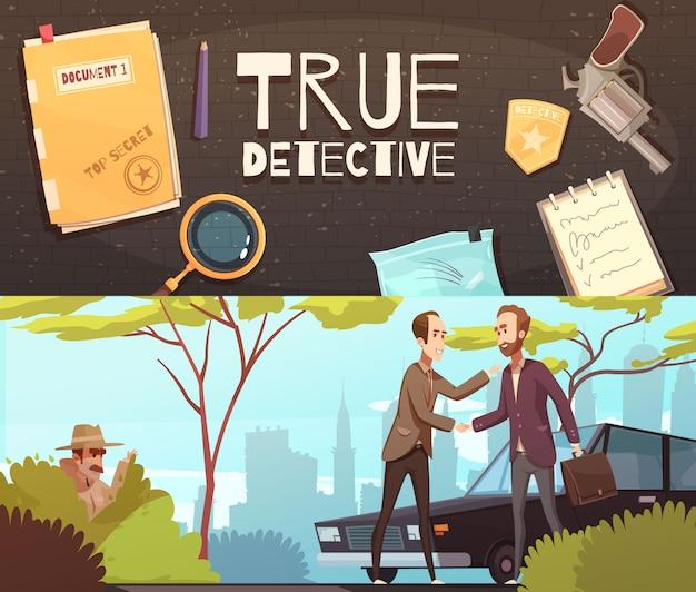 Detektivgeschichte banner set Kostenlosen Vektoren