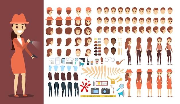 Detektivzeichensatz für die animation mit verschiedenen ansichten Premium Vektoren