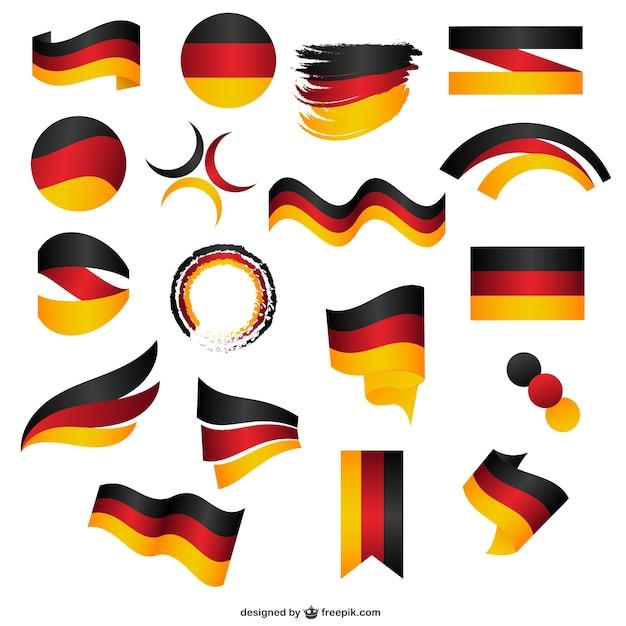 Deutsch fahne aufkleber Premium Vektoren