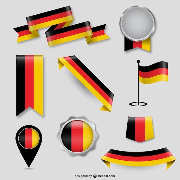 Deutsch flagge design-elemente Premium Vektoren