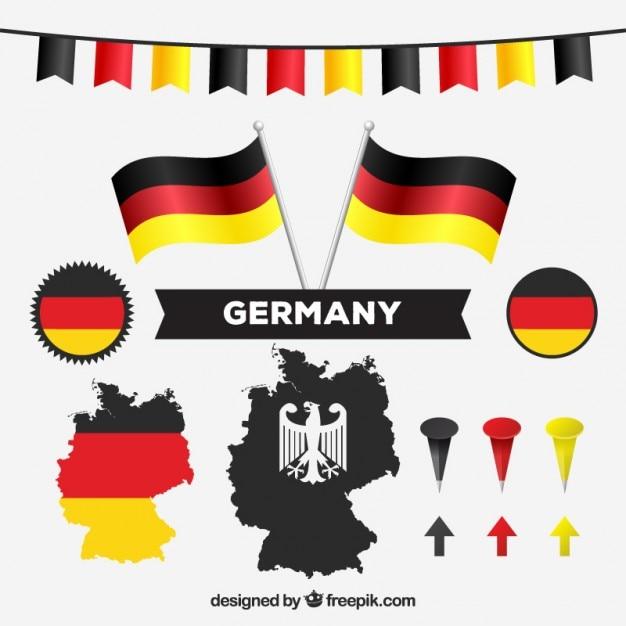 Deutsch karte und nationalfarben Premium Vektoren